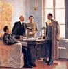 Совет народных комиссаров вручает Дзержинскому постановление об организации ЧК 7 декабря 1917 года