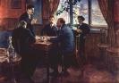 В. И. Ленин и И. В. Сталин за выработкой резолюции Таммерфорсской большевистской конференции в 1904 году